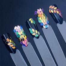 BearPaw Nail Art Decoration Holographic Chameleon Nail Sequins Horse Eye Shaped Dazzling Paillette Flakes Nails Accessories цена