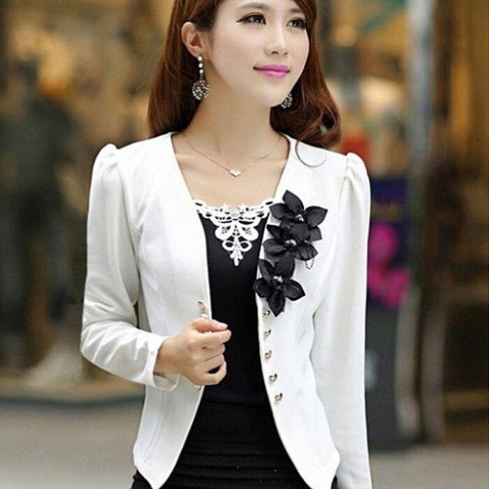 New Blazer Female 2019 Slim Outerwear Blazer Elegant  Spring Autumn Outerwear Coat  Plus Size Women Ladies Jacket Clothes