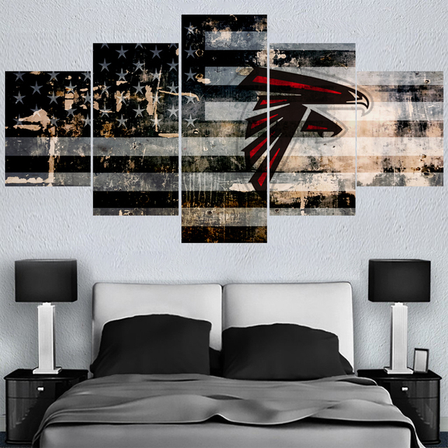 5 Pcs Ball Sport Falcons Team Paintings Wall Home Decor Atlanta Picture Canvas Painting Calligraphy For Living Room Bedroom