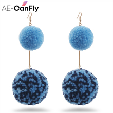 Здесь можно купить   AE-CANFLY Hot Sale Winter Design Big Fur Ball Dangle Drop Earring Brand Ear pendientes Long Earring oorbellen   Fashion Jewelry