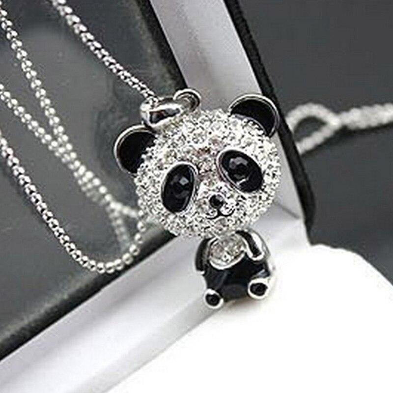 Hot Sale Women Silver Pendant Necklace Sweater Chain Panda Alloy Long Pattern Diamante Gift Fashion Jewelry