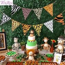 Fengrise aniaml バナージャングルパーティーの装飾サファリ誕生日装飾ジャングルテーマパーティーサファリパーティーベビーシャワー少年