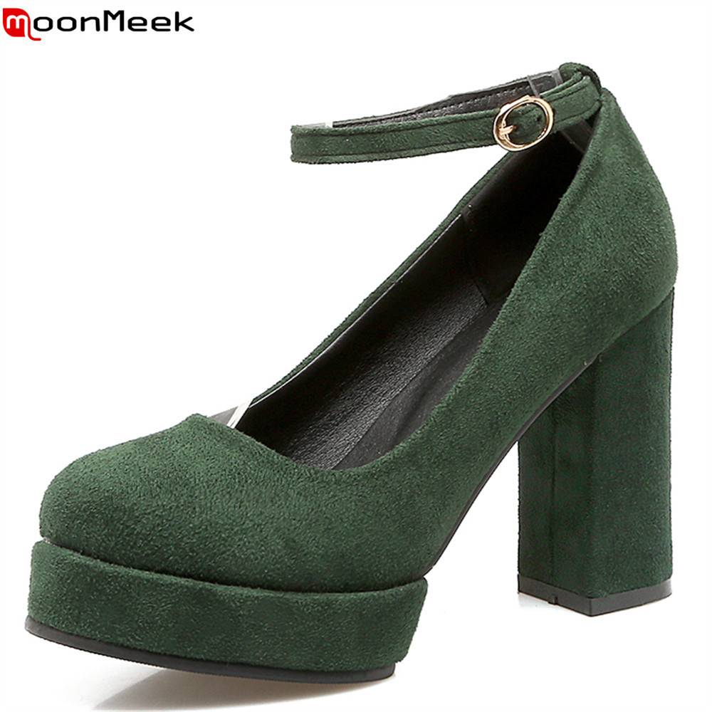 MoonMeek summer spring square heel platform shoes with buckle extreme high heels round toe flock sexy pumps women shoes [classic]2016 summer style women s sexy platform waterproof fish toe high heel square heel heel 11cm sandals pumps lx107