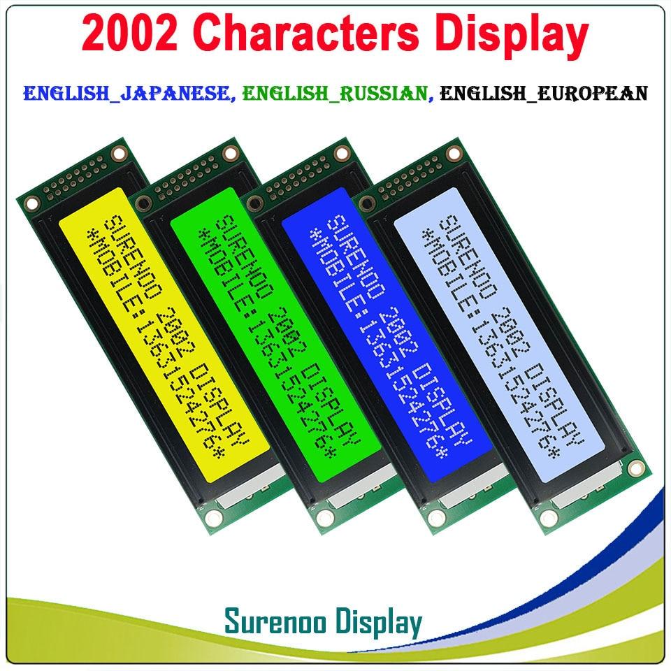 Anglais/japonais/russe/européen 202 20X2 2002 caractère LCD Module écran d'affichage LCM LCD avec rétro-éclairage LED