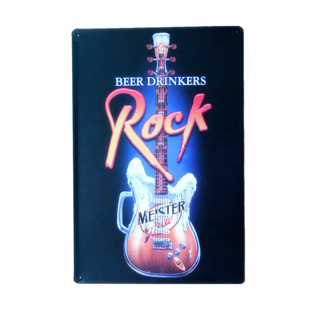 ROCK and BEER DRINKERS Vintage Metal Tin Signs Home Decor Retro Metal Painting Art Posters Bar Wall Stickers 20x30cm N038