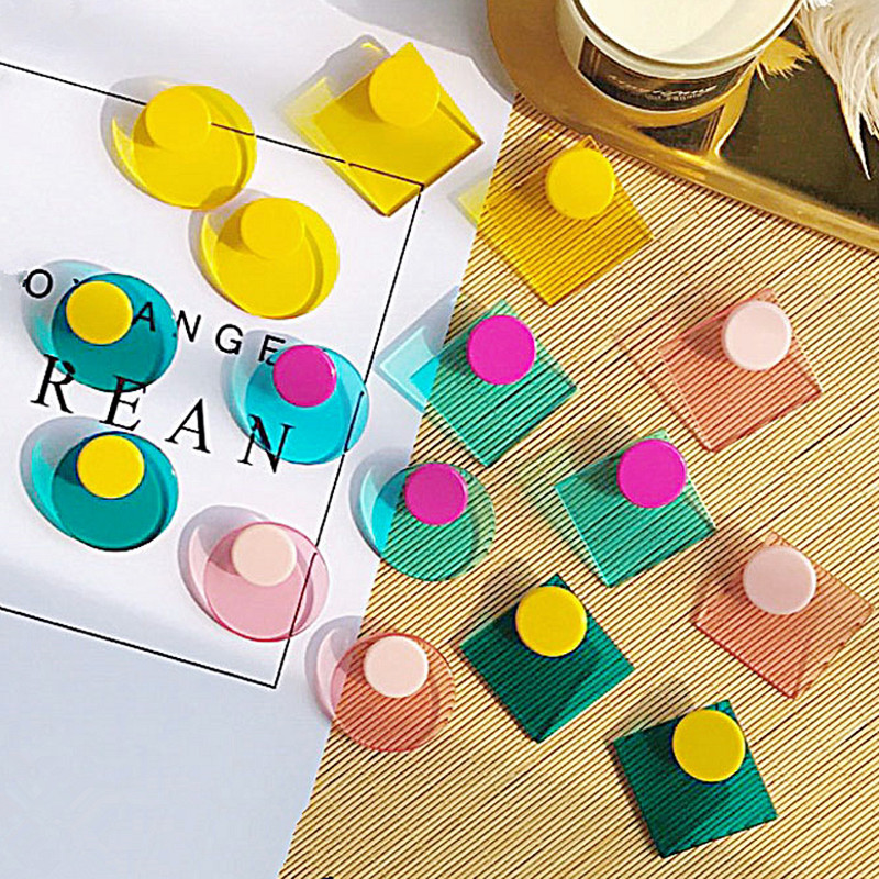 New Exaggerated Geometric Acrylic Stud Earrings Women Korean Style Bohemian Round Shape Big StatementEarrings Party Accessories
