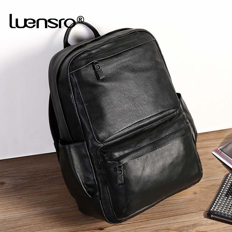 100 Natural Skin Genuine Leather Backpack Men Large Capacity 14 inch Laptop Backpack Male Travel Bags