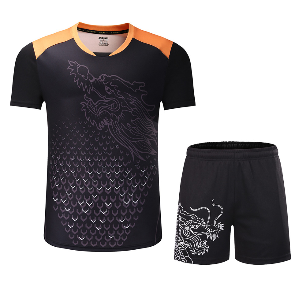 New CHINA Dragon table tennis sets Men or Women , ping pong tracksuit , Chinese table tennis clothes , table tennis suits shirts men table tennis sets dragon pattern sports training shirt short male pingpong badminton suit