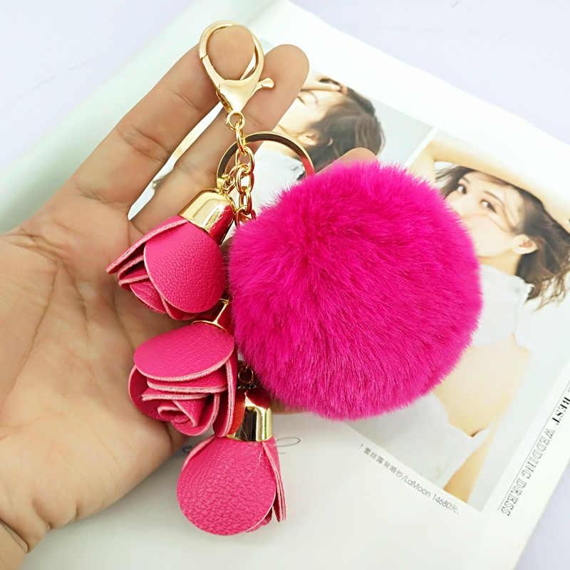 Cute Pompom Ball PU Rose Key Chains Handmade Fur Keyring Bags Decoration Pendant  Keychains Jewelry Ornaments 8dbc5b9ae4372