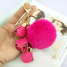 Cute Pompom Ball PU Rose Key Chains Handmade Fur Keyring Bags Decoration Pendant Keychains Jewelry Ornaments Kids Birthday Gifts