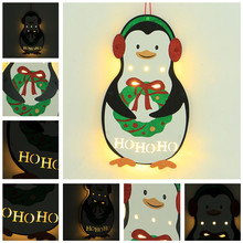 christmas decorations for home warm white led penguin christmas decoration wood house new year 2019 party