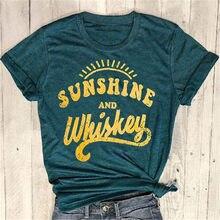 Nieuwe Vrouwen t-shirt Korte Mouw Donkergroen tops tee Sunshine En Whisky Afdrukken O-hals T-Shirt 2018 Zomer Casual Vrouwelijke tops Tee