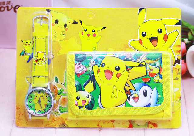 1pcs Hot sale! New Lot Pikachu sets cartoon kids part Set watch Wristwatch and w