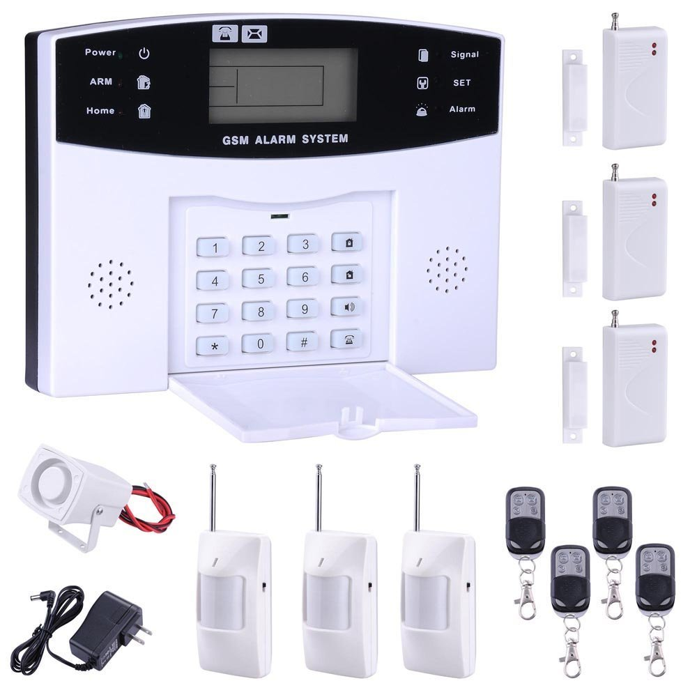 GSM Home Keypad Security Burglar Alarm System Kit 99 Wireless and 7 Wired Zones White 13 Pcs home security self defense pstn gsm sms alarm system 315 433mhz 16 wire and wireless zones lcd keypad burglar alarm