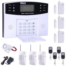 GSM Home Keypad Security Burglar Alarm System Kit 99 Wireless and 7 Wired Zones White 13 Pcs