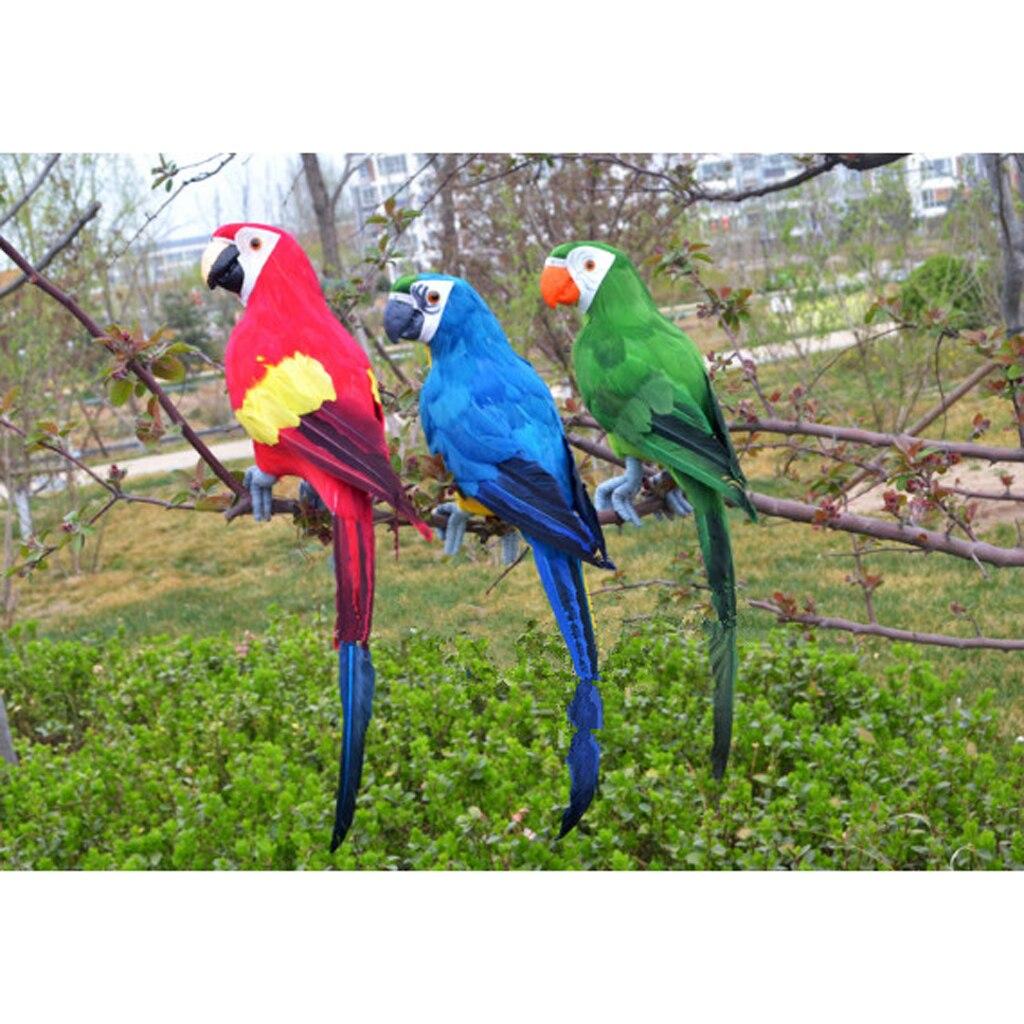 Large 45cm Artificial Feather Parrot Toy Lightweight Garden Decor 3 Colors For Garden Decoration Shop Window Photography Props