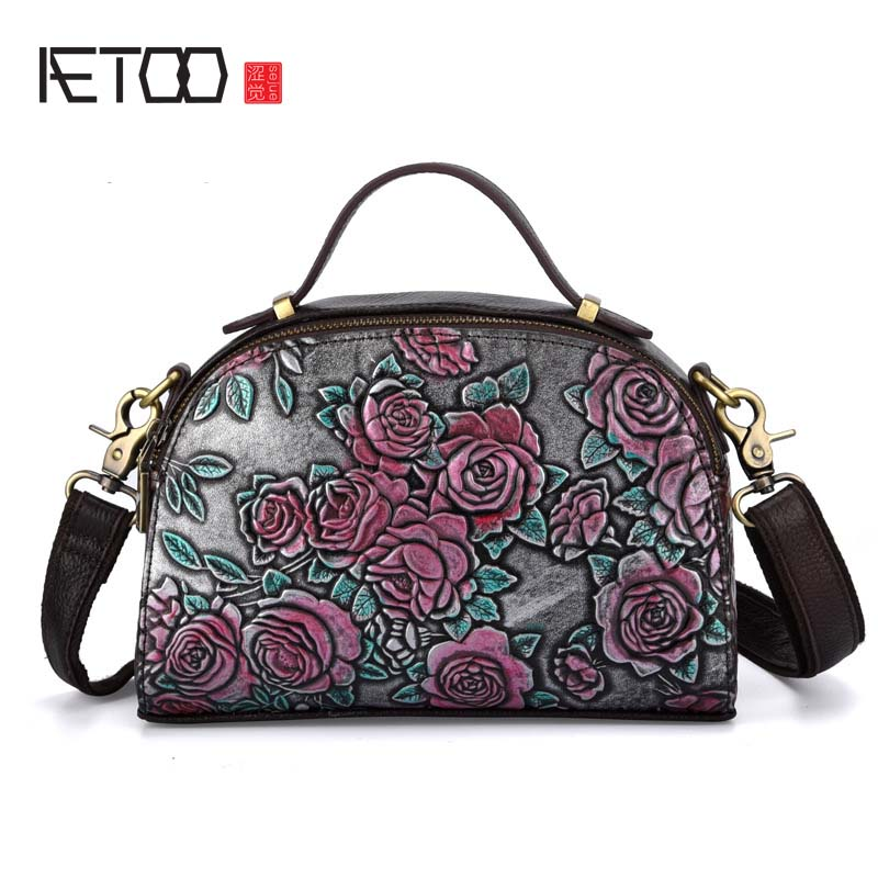 AETOO The new embossed rub color bag leather Fashion Casual Lady Shoulder Messenger Bag Genuine Leather Rose doctor bag women