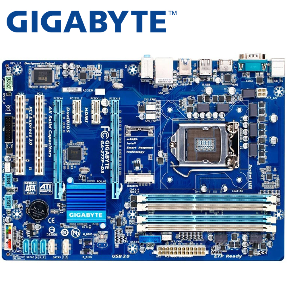 GIGABYTE GA Z77P D3 Desktop Motherboard Z77 Socket LGA 1155 i3 i5 i7 DDR3 32G ATX UEFI BIOS Original Z77P D3 Used