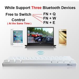Image 4 - جديد 61 مفاتيح RK61 بلوتوث اللاسلكية الأبيض LED الخلفية مريح الألعاب الميكانيكية لوحة المفاتيح ألعاب مضيئة للكمبيوتر المحمول