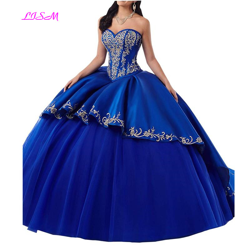 Gold Embroideried Quinceanera Dress Sweetheart Ball Gown Satin Corset Prom Dresses 2019 Elegant Sweep Train Formal Gowns