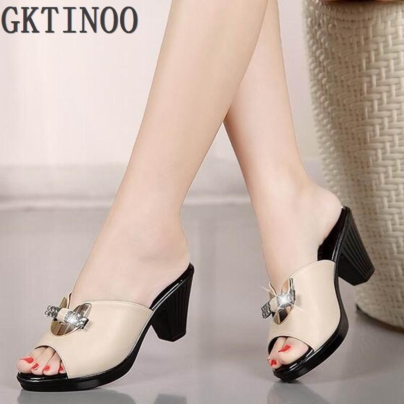 Genuine leather women sandals rhinestone high heel female slippers platform anti skid sandals women summer shoes A8 1
