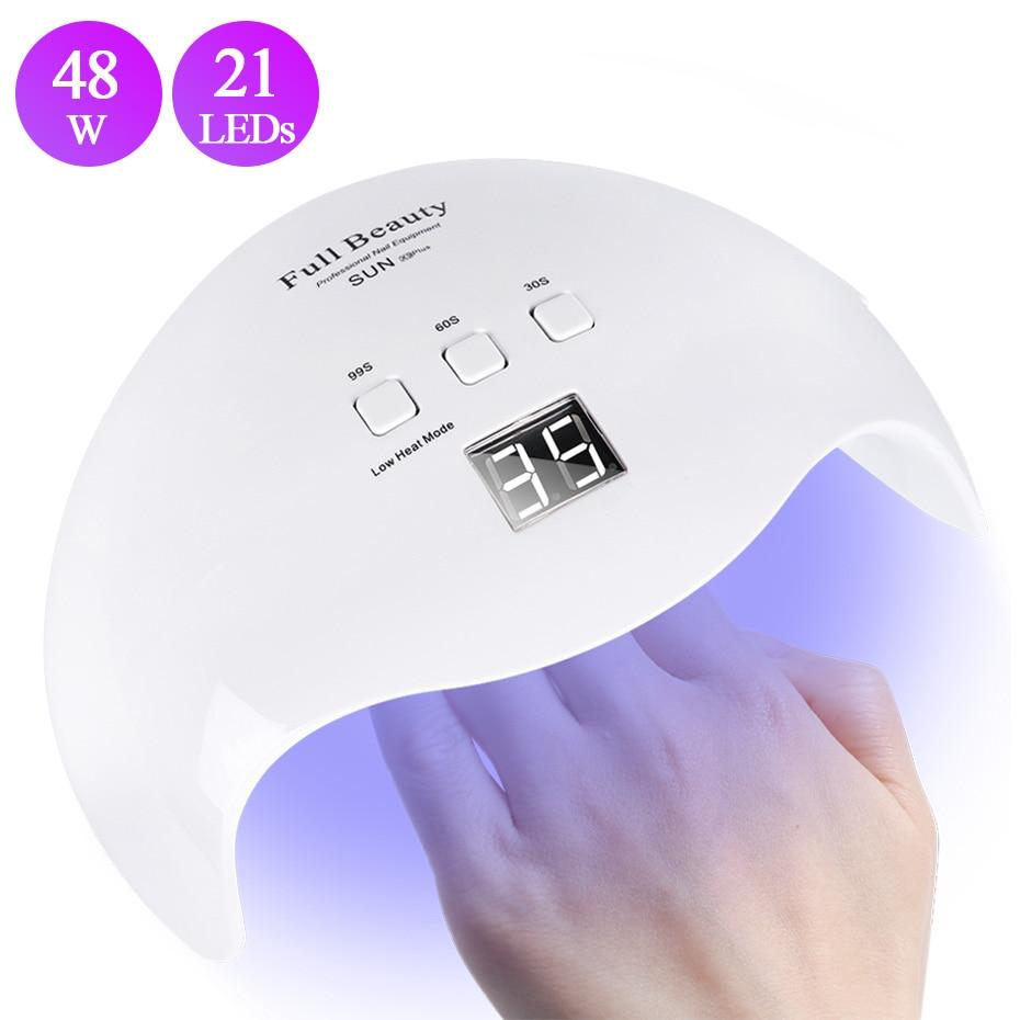 48W Nail Dryer UV Lamp 21 LEDs Sunlight Nail Lamp Drying All Gel Varnish Polish Smart Nail Art Equipment Manicure BESUNX9Plus