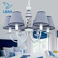 Новый Маяк Средиземноморский droplight мальчик спальня синие светодиодные лампы Европейская детская комната лампа  кованого железа стиль