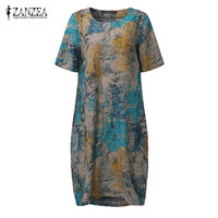 ZANZEA Summer Women Vintage Floral Print Dress Casual Loose Pockets Short Sleeve O Neck Dresses Robe
