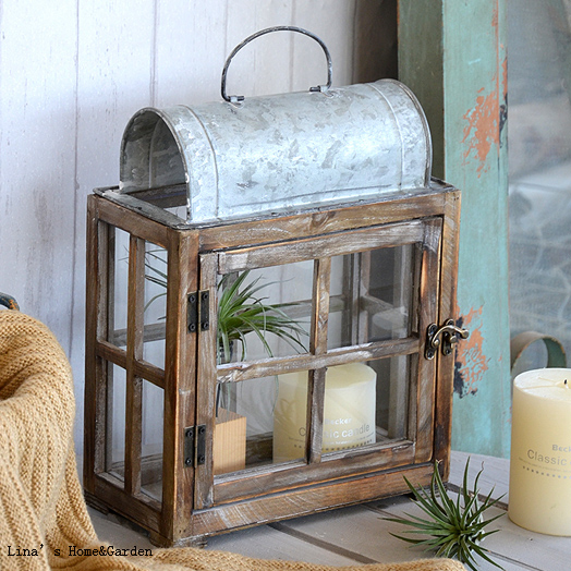 Solid Wood Zinc Hand Craft Vintage Rectangle Lantern