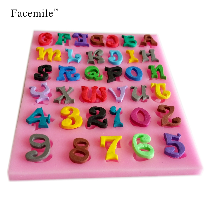 new number letter shape silicone mold cake decoration fondant cake 3d soap chocolate moulds kitchen baking