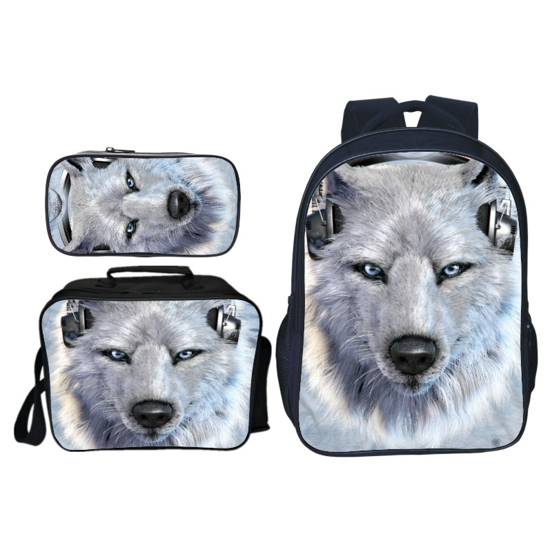 8dd88929e87 US $20.79 48% OFF|3pcs/set Animals Wolf Printing Oxford Kids Baby School  Bags Student Suit Bookbag for Boys Backpacks for Children Schoolbag Gift-in  ...