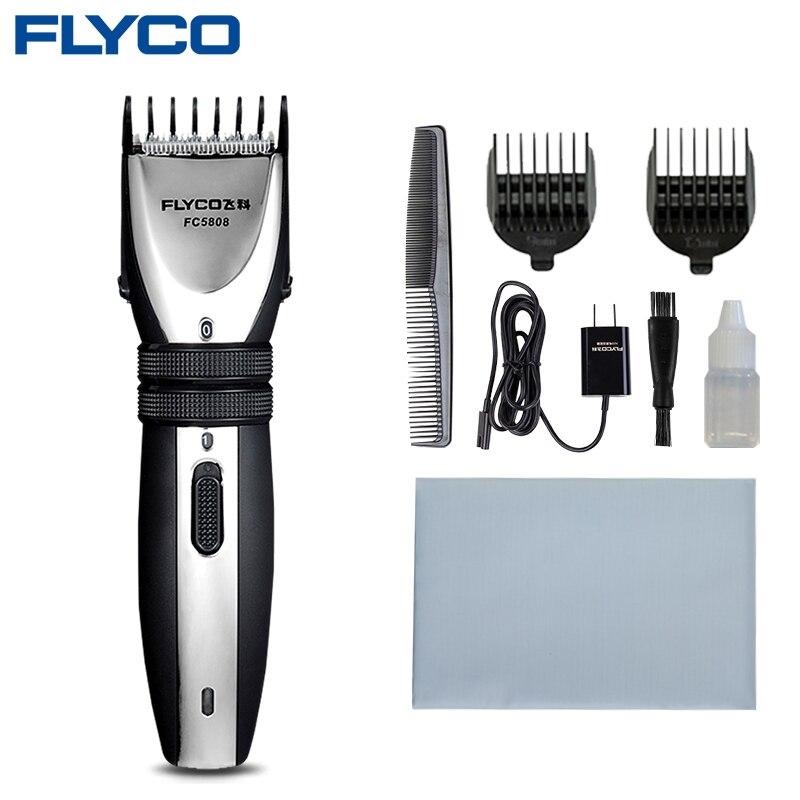 Flyco Professionnel Électrique Tondeuse À Cheveux Rechargeable Tondeuse À Cheveux pour Hommes tondeuse à barbe Coupe De Cheveux Machine 2 pièces Buses FC5808