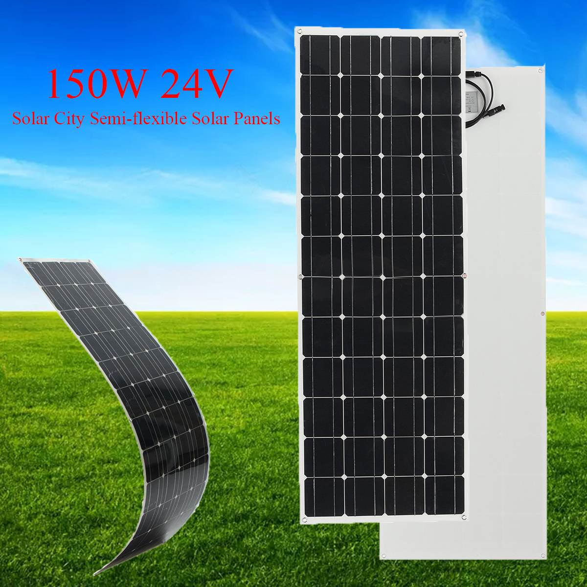 KINCO EL-06 150W/24V Semi Flexible Monocrystalline Solar Panel DIY Solar City Chip System Power Supply  + 1.5m Cable 50w 12v semi flexible monocrystalline silicon solar panel solar battery power generater for battery rv car boat aircraft tourism