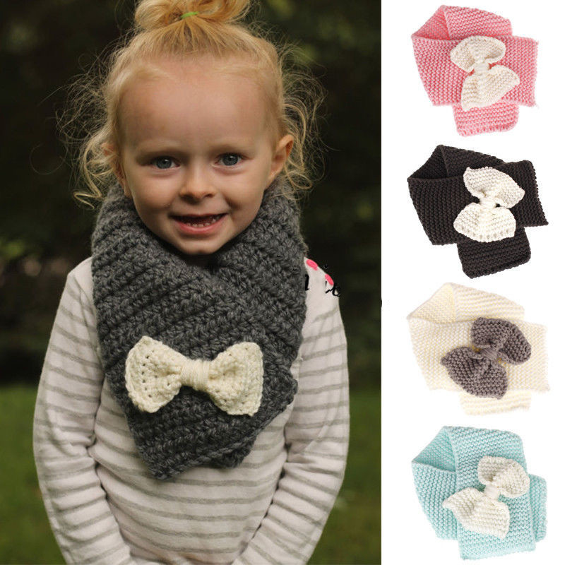 2018 Hot Selling Winter Neckerchief Women Children's Cotton Muffler Baby Warm Soft Boys Scarves Girls Knitted Cross Bow Scarf