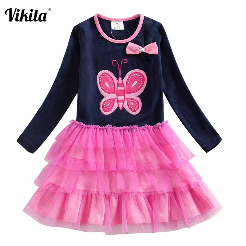 VIKITA Girls Tutu Dresses Long Sleeve Toddlers Spring Autumn Winter Dresses Butterfly Bow-knot Kids Dress for Girls LH4555NAVY toddlers girls dots deer pleated cotton dress long sleeve dresses