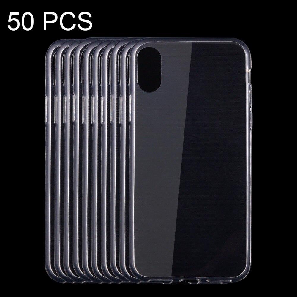 50 pcs Pour iPhone X 0.75mm Ultra-mince Transparent TPU Étui de protection Couverture Arrière Cas Mobile Téléphone Cas en gros