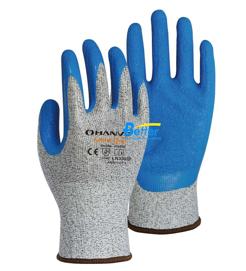13 gauge HPPE  Latex Palm Coated Safety Glove CE EN 388 Cut 3 Resistant Work Glove