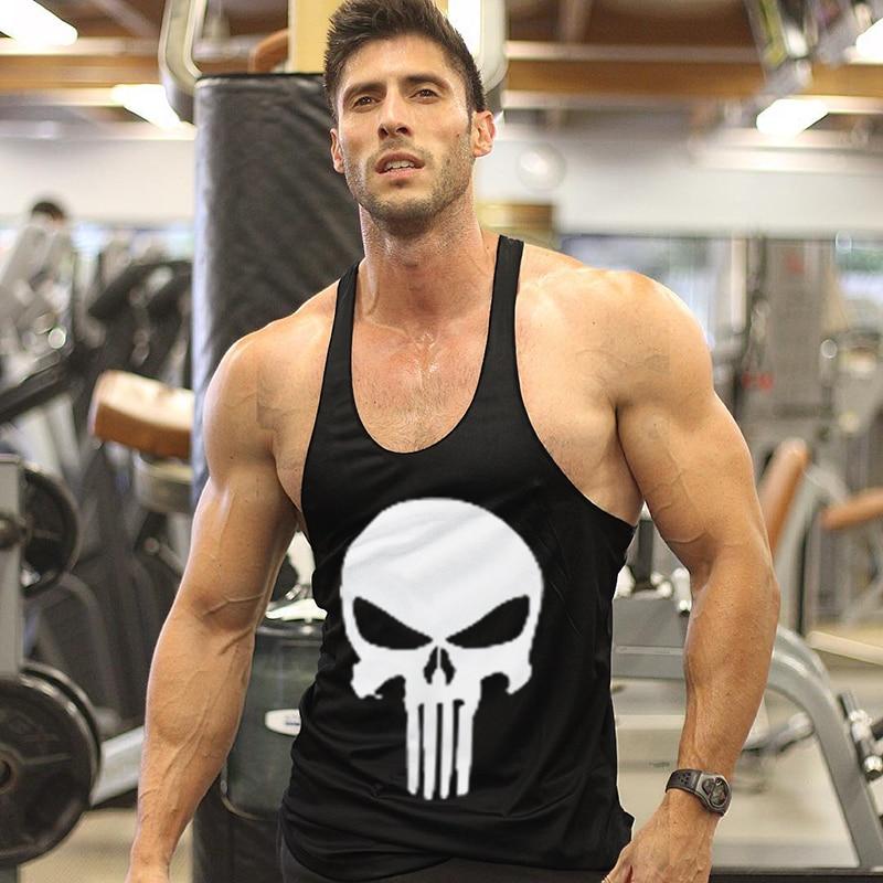Punisher Skull Men Gym Muscle Shirt Tank Top Bodybuilding Sports Workout Vest