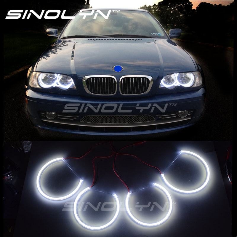 For Bmw E46 Angel Eyes LED COB Lights Halo Rings 1999-2004 Non projector Retrofit DIY Kit 131mm+146mm, 2 Time Brighter then CCFL epman universal black 3 76mm polished aluminum fmic intercooler piping kit diy pipe length 600mm for bmw e46 ep lgtj76 600
