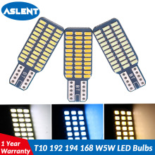 ASLENT 2PCS T10 192 194 168 W5W LED Bulbs 33 SMD 3014 Car Tail Lights Dome Clearance Lamp White ice bule 12V Canbus Error Free