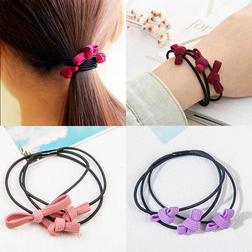 Cloth Pink Purple Brown Blue Red Bowknot Three-layer Hair Clips & Pins Headwear Hair Accessories for Women