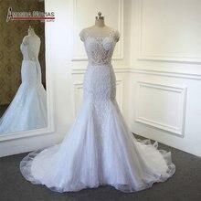 vestido de noiva 2019 New Arrival Mermaid Wedding Dress Top Full Beading Transparent Bodice Dress