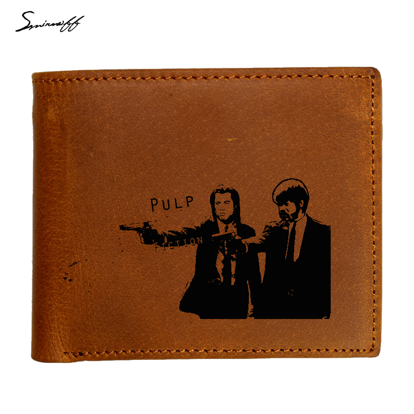 Genuine Leather Men Wallet Laser Engraved Pulp Fiction Jules and Vincent hold guns Boys Wallet Card Holder Vintage Gift Purse