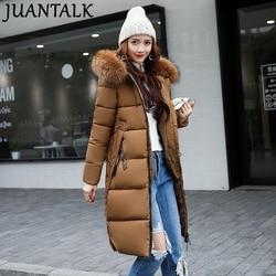 858d7768331 Juantalk зимняя теплая верхняя одежда женские средней длины тонкий  утолщение меховой воротник пуховик с хлопковой подкладкой