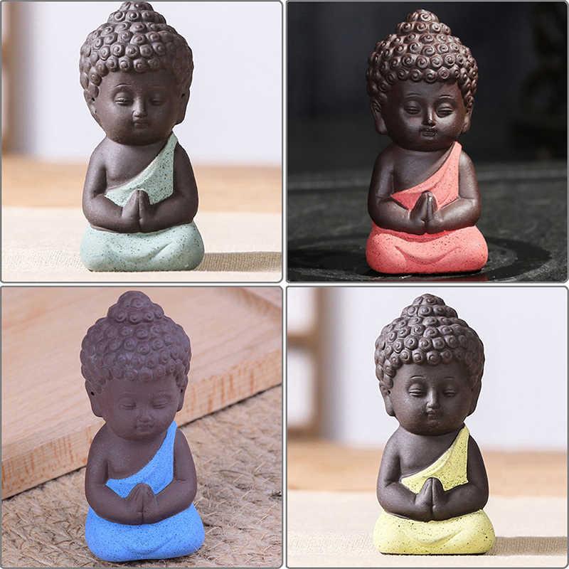 1PCS Mini Chinese Boeddhisme Zen Monniken Boeddhisme Kleine Standbeelden Little Meditatie Monnik Miniatuur Craft Boeddhabeelden Klei
