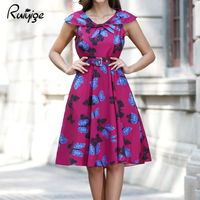 2017 RUIYIGE New Arrival Women Floral Print Sleeveless Vintage 50s 60s Casual Formal Evening Party Retro