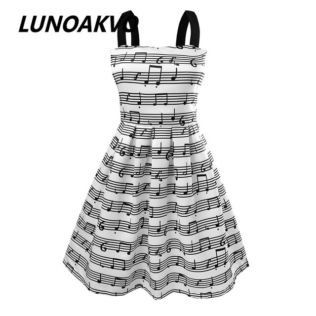 Летний Новый женская Мода Ремни Sweet музыкальная нота Печати шифон Высокая Талия Принцесса party Dress evening