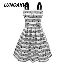 Summer New Women's Fashion Straps Sweet musical note Printing chiffon Tall Waist Princess party Dress evening