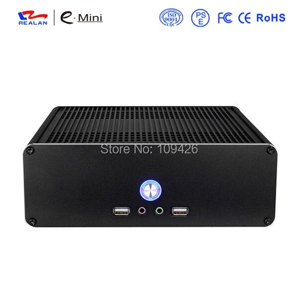 REALAN Mini ITX Aluminum 2.0mm PC Case E-K3i with Power Supply Fan USB Audio WIFI COM (Black, Silver)
