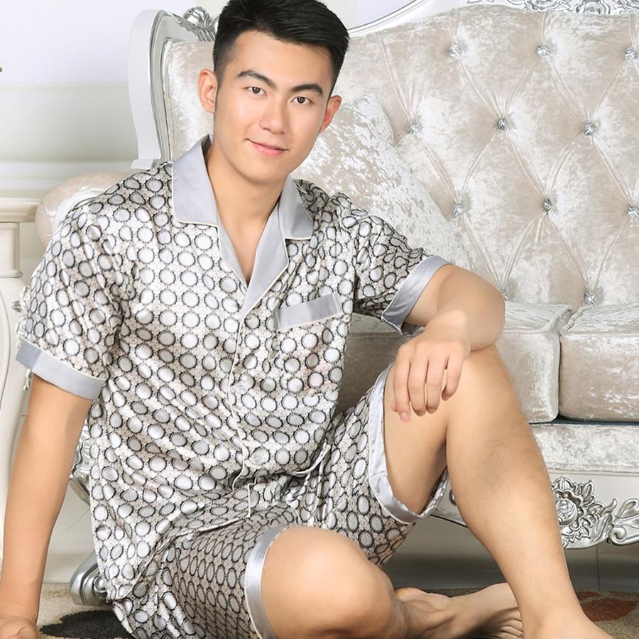Satin Pajamas Men Set Summer Rayon Night Suit Pijama Hombre Suit Sleepwear Silk Pajamas For Men Short Sleeved Nightwear S501